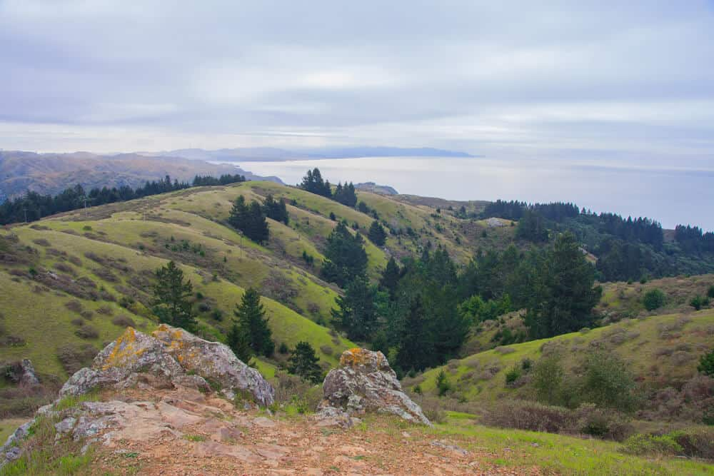 the hills on the trail to dipsea loop with the pacific ocean in the background on a scenic marin county hike