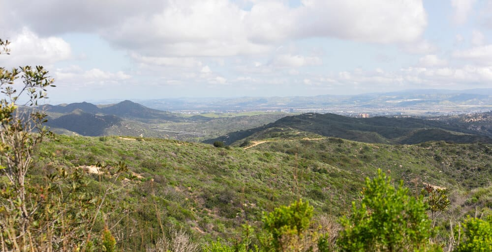 Reaching the peak of Aliso & Woods Canyon Wilderness trail in the spring after a rainy season, Laguna Beach, CA hiking trail