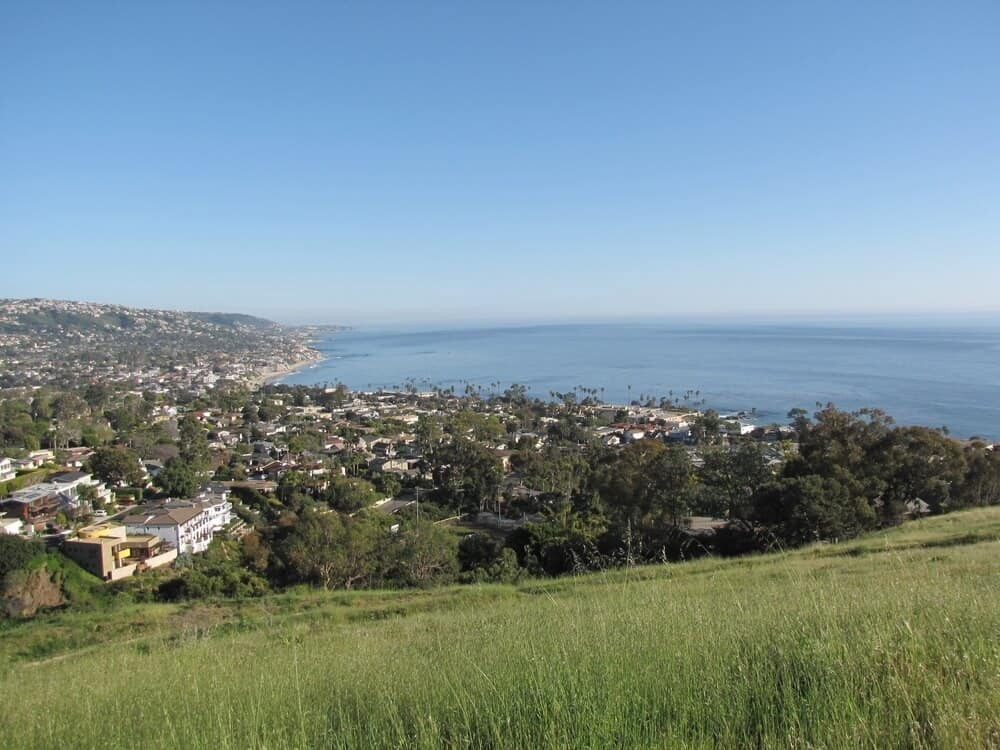 tall grass on a mountain overlooking houses and water hiking in laguna beach california