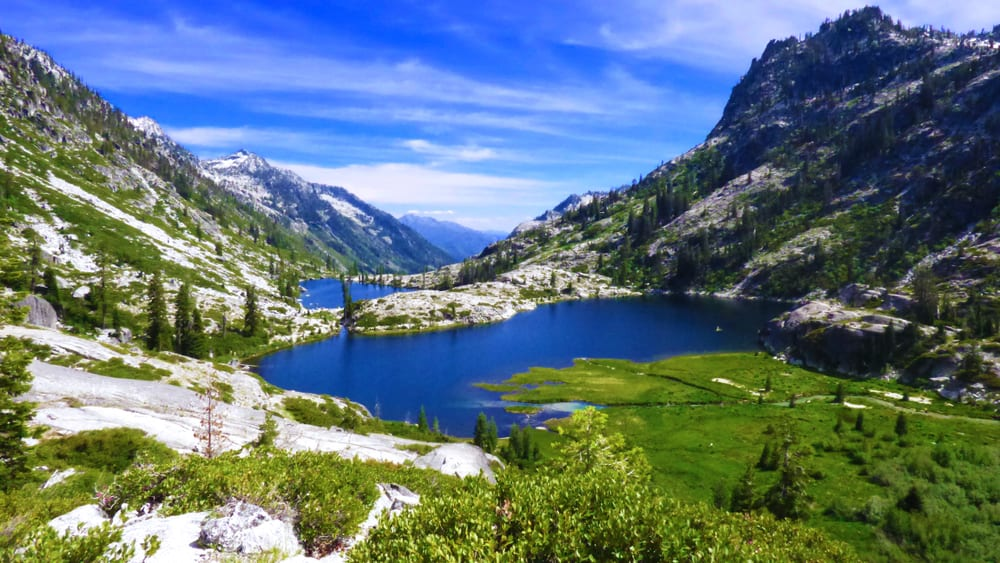 view of the canyon creeks lake a popular hike in the trinity alps of california