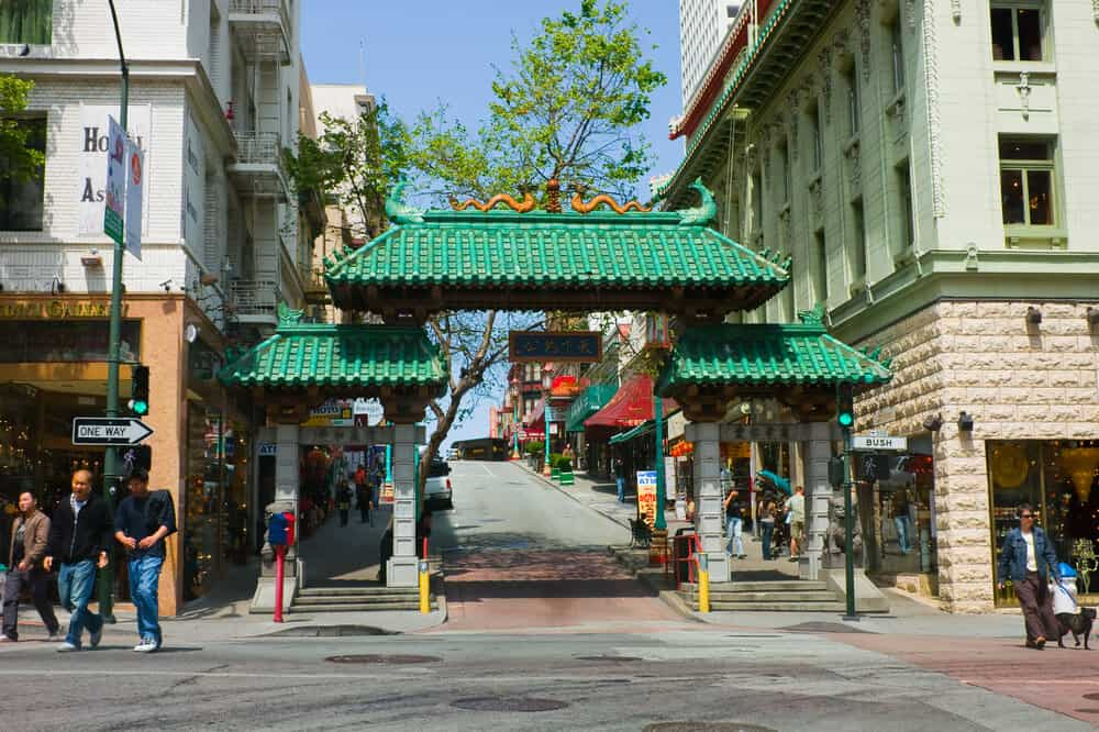 chinatown dragon gate in san francisco with green roof