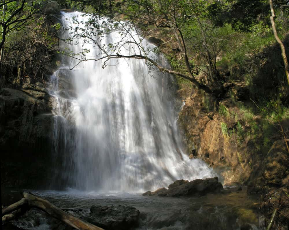The rushing waterfall of Escondido Falls after a short Malibu hike after a rainy reason so there is water flowing in the fall
