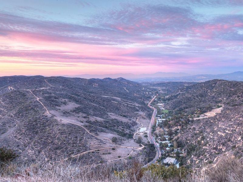 sunset overlooking laguna canyon road