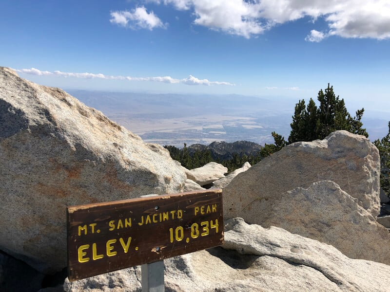 """Sign at the summit of Mt San Jacinto that says """"elevation 10834"""""""