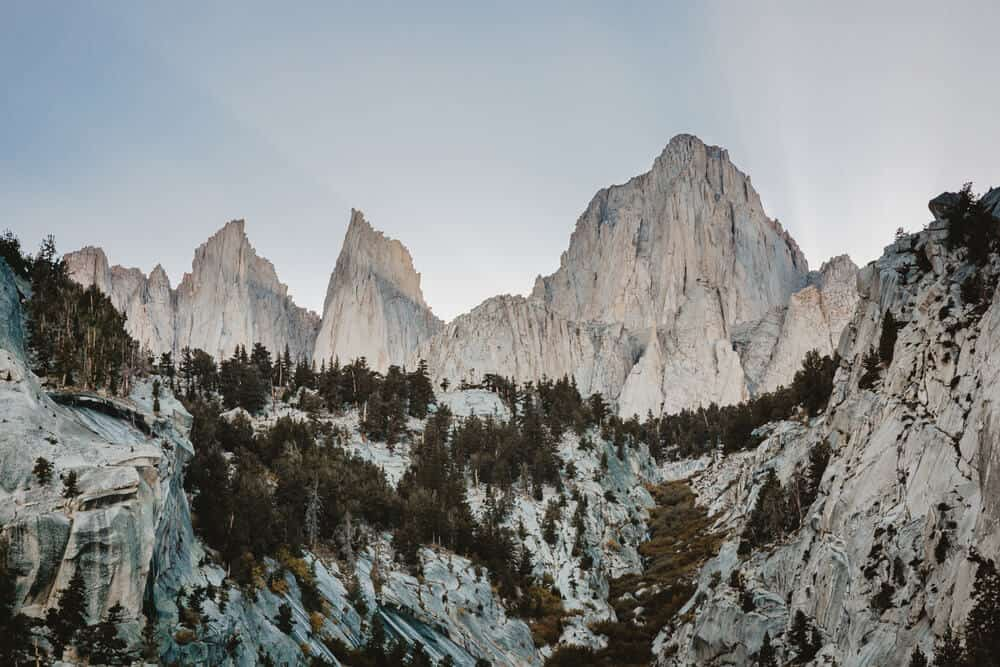 the peak of mt whitney as seen from Whitney portal