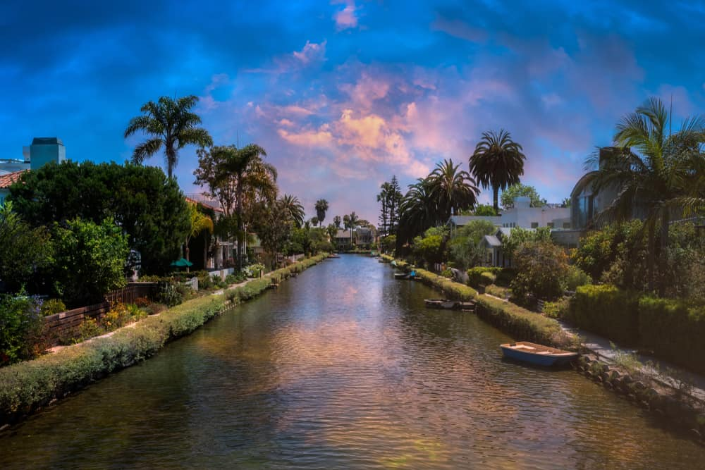 venice canals sunset and palm trees on the canal