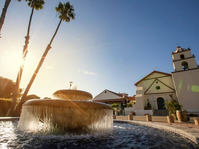 a fountain in front of the ventura mission in this cute California coast town