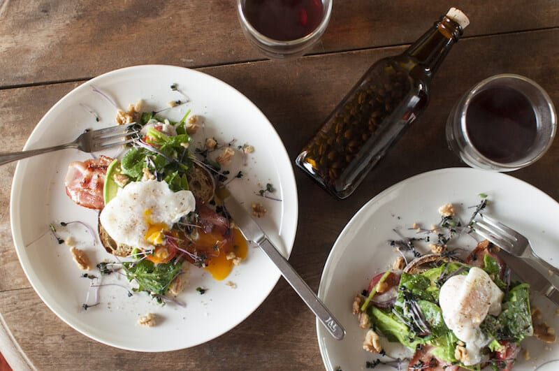 eating brunch in los angeles with eggs and toast