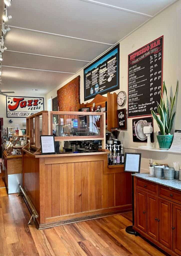 having a cup of coffee at a cafe in half moon bay: cafe interior