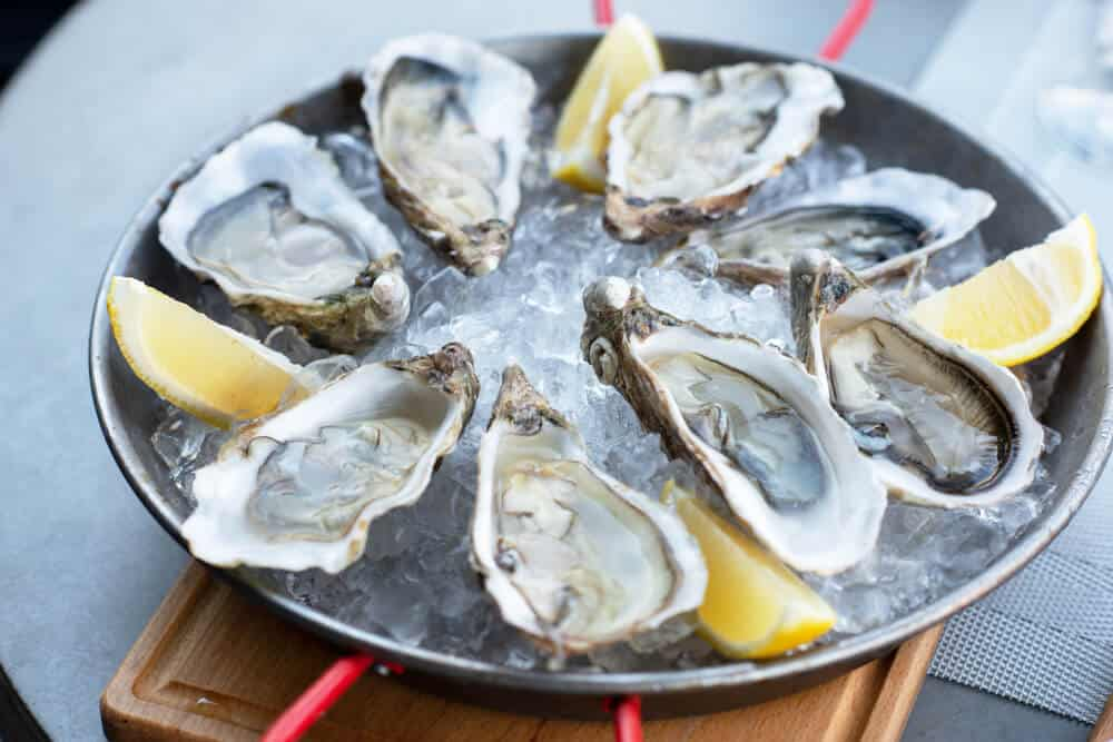 A plate of eight oysters served with lemon