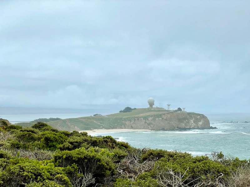 Pillar Point Bluff overlook to the strange military installation on the peninsula