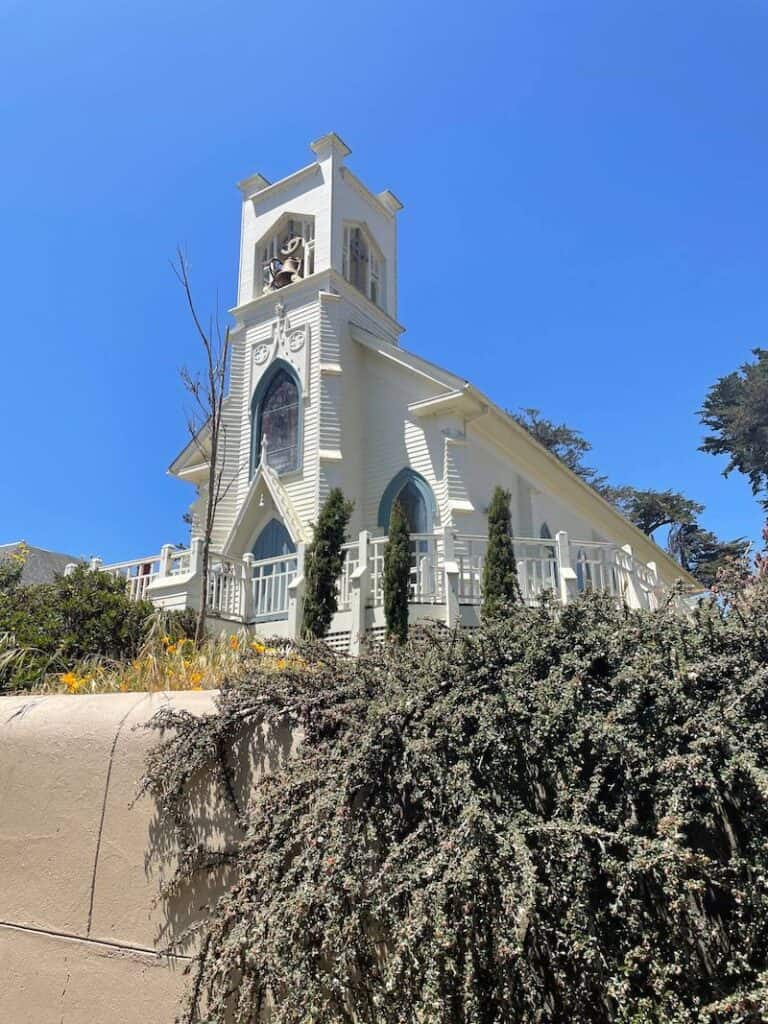An ornate and pretty Catholic Church in the town of Tomales