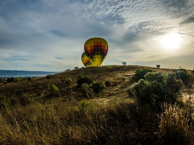 view of inflating hot air balloons shortly after sunrise in napa valley california