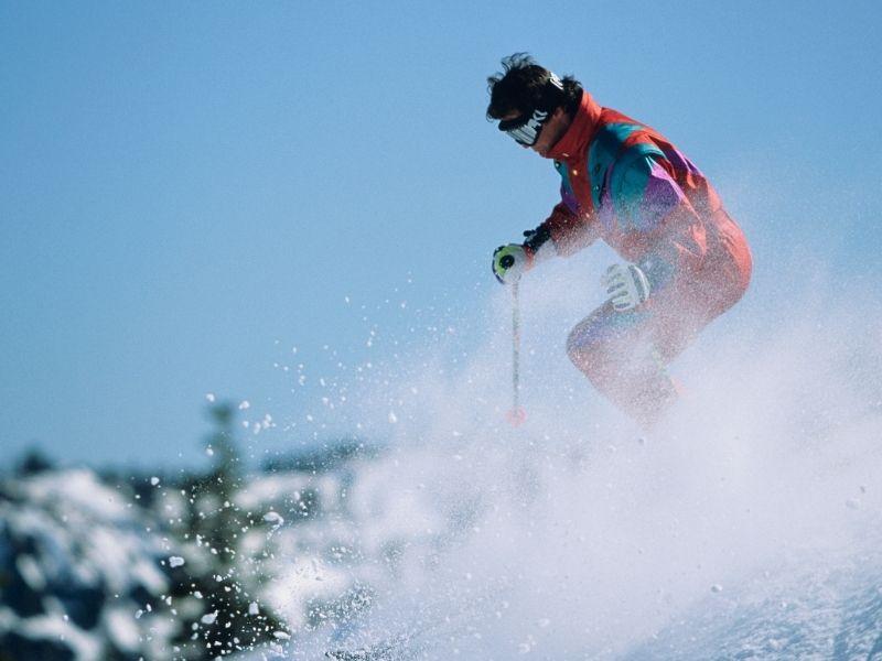 person skiing in california