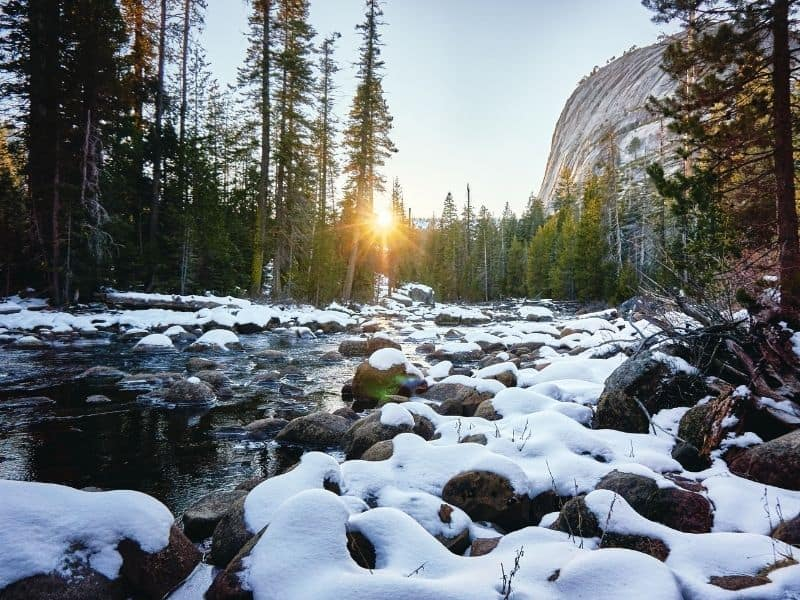 snow covering rocks in the river at yosemite national park with the sun coming up through the trees at sunrise