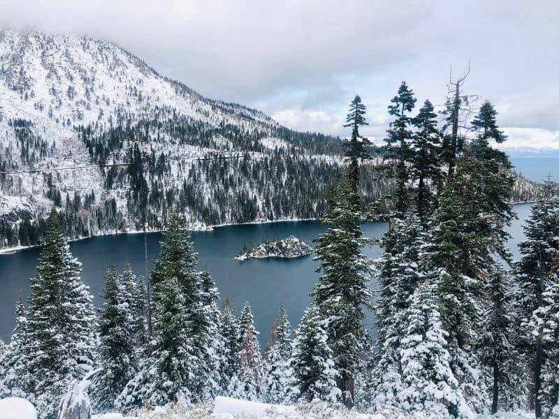 snow covered hillside and trees with a view of lake tahoe on a cloudy winter day, with a small islet in the lake covered in snow as well
