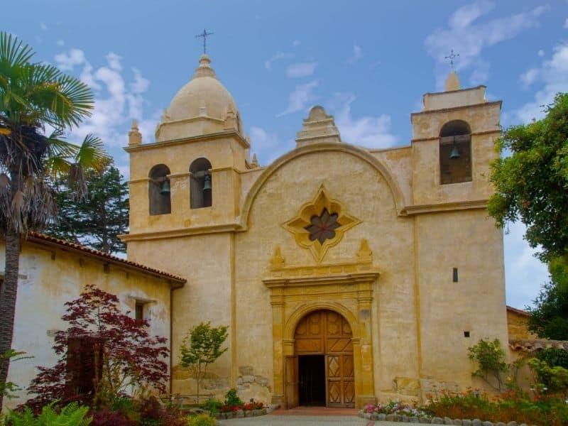 the mission in carmel california a church building in tan tones
