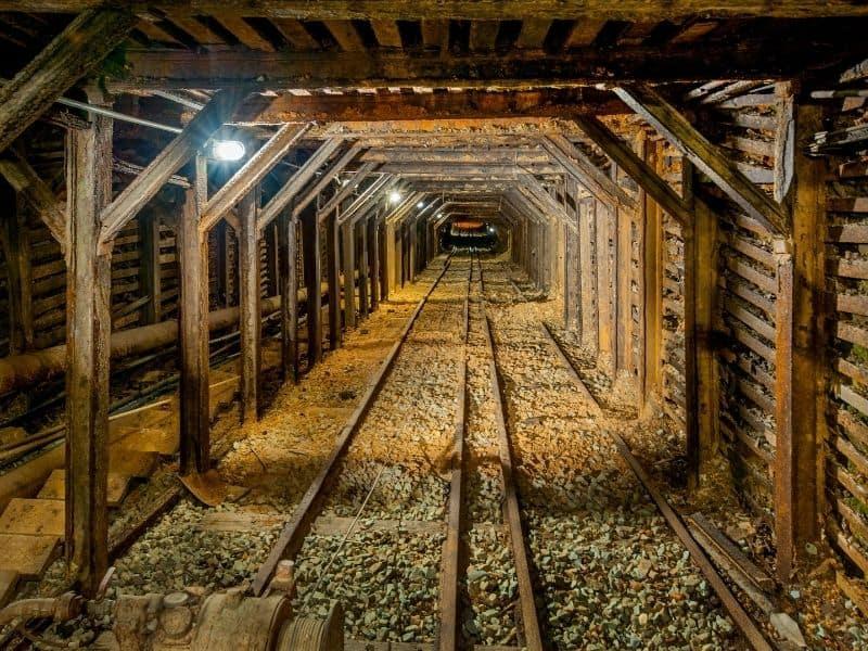 Old railroad tracks in the Empire Mine in a state historic park in California