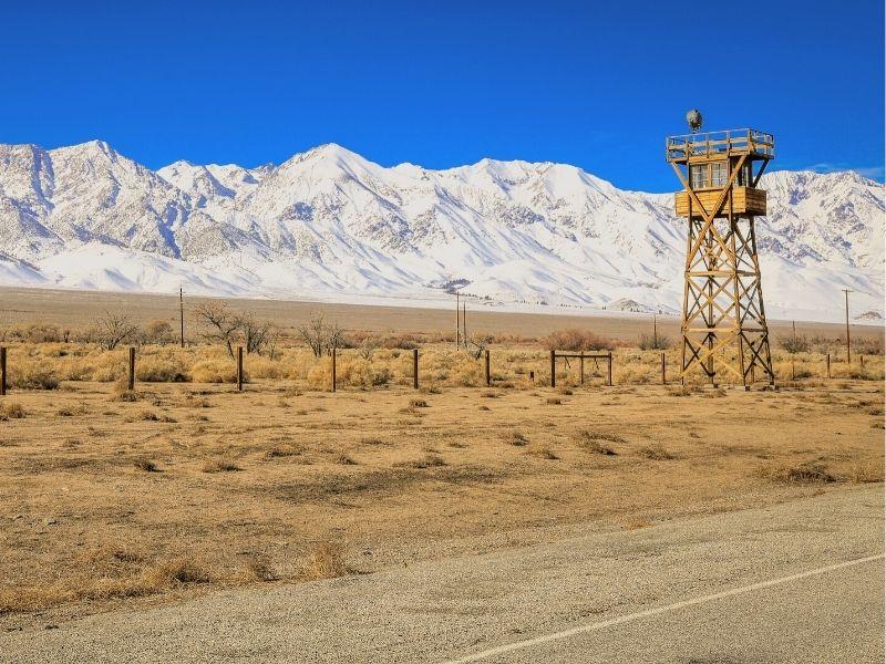 The watchtower at the Manzanar internment camp