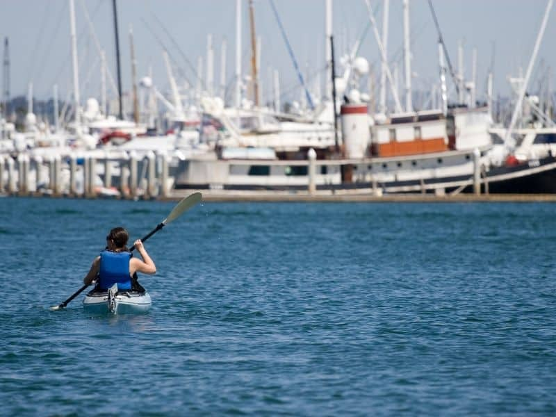 person kayaking in a harbor in southern california near san diego