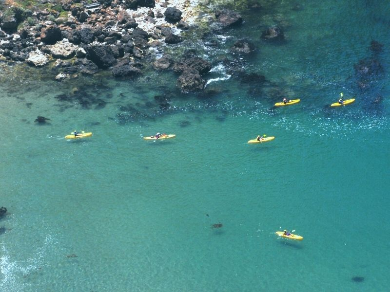 Aerial photo of six kayakers in Southern California's beautiful Channel Islands National Park, out on yellow kayaks against brilliant blue-clear water