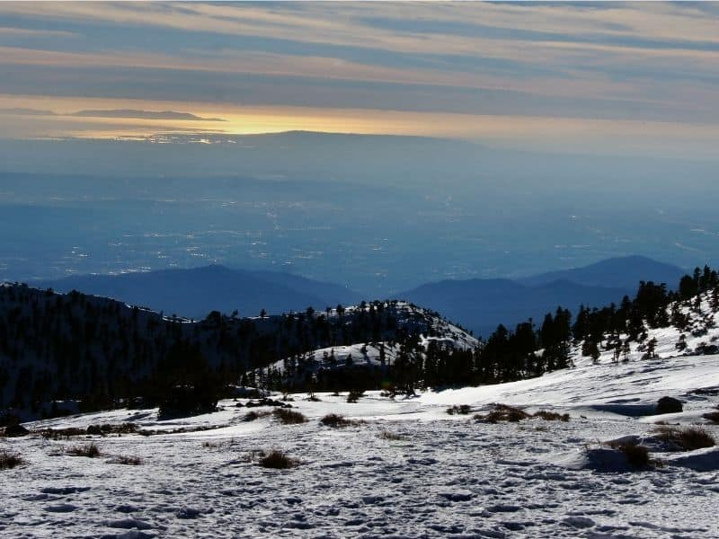 snow on the peak of mount baldy in los angeles
