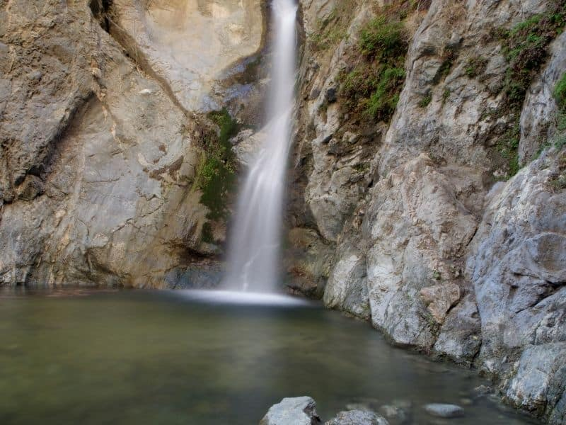 eaten canyon waterfall in long exposure in los angeles