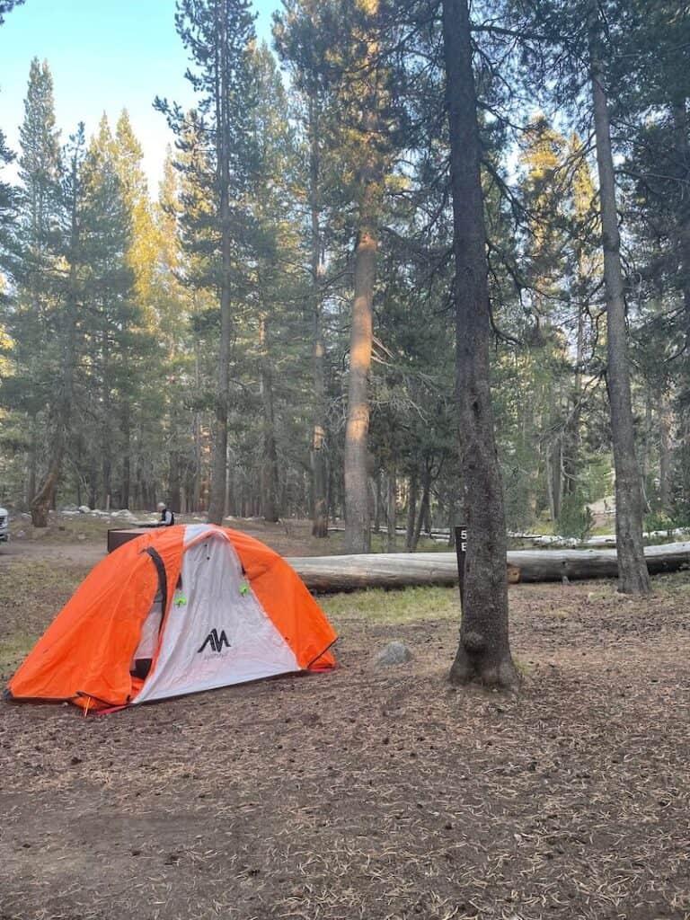 My trusty Ayamaya orange tent camping in Tuolumne meadows