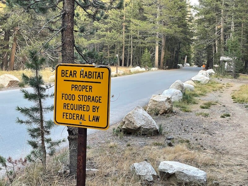 sign warning visitors about bears at tuolumne meadows