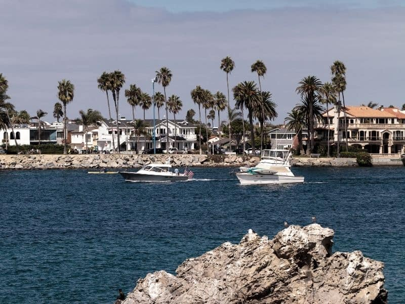 the harbor of corona del mar with boats, houses and palm trees on a clear calm day