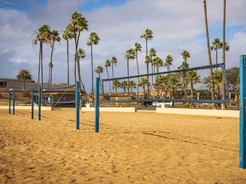 sand volleyball court in corona del mar state beach california with palm trees behind it