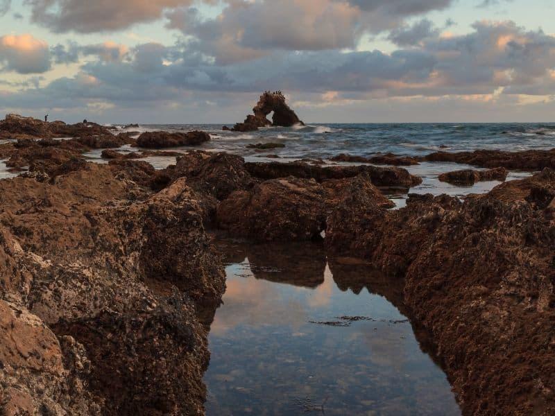 tidepools around sunset at little corona beach in california