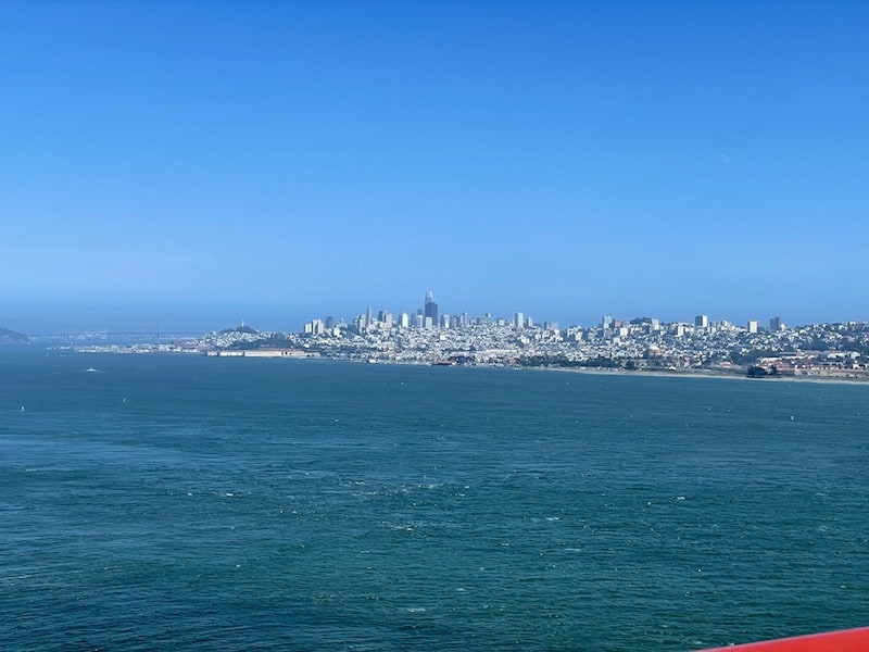 The city skyline as seen from the golden gate bridge