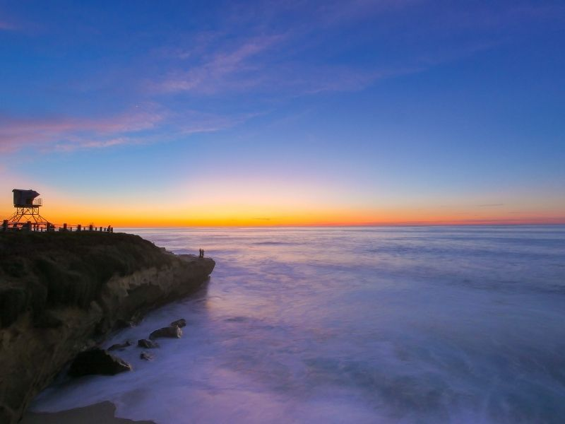 two people standing silhouetted against the setting sun at la jolla for sunset
