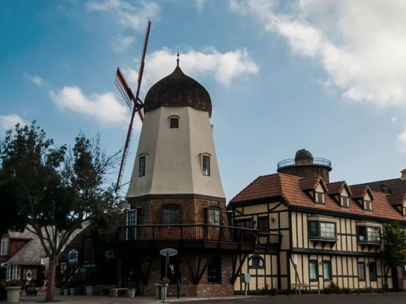 the old-fashioned danish windmill and half-timbered architecture of the small charming california town of solvang