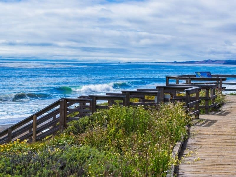 the stairs leading down to moonstone beach in cambria a beautiful beach where you can find pretty rocks