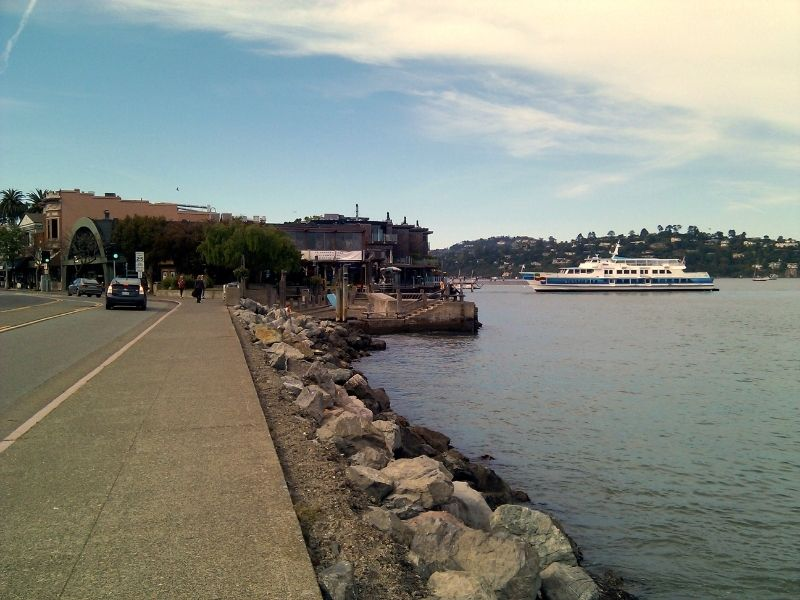 ferry arriving in sausalito from san francisco on the bay with houses in the distance visible