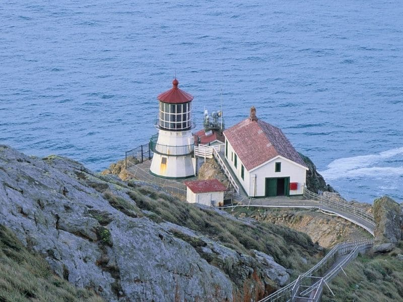 the lighthouse down a set of stairs at point reyes california