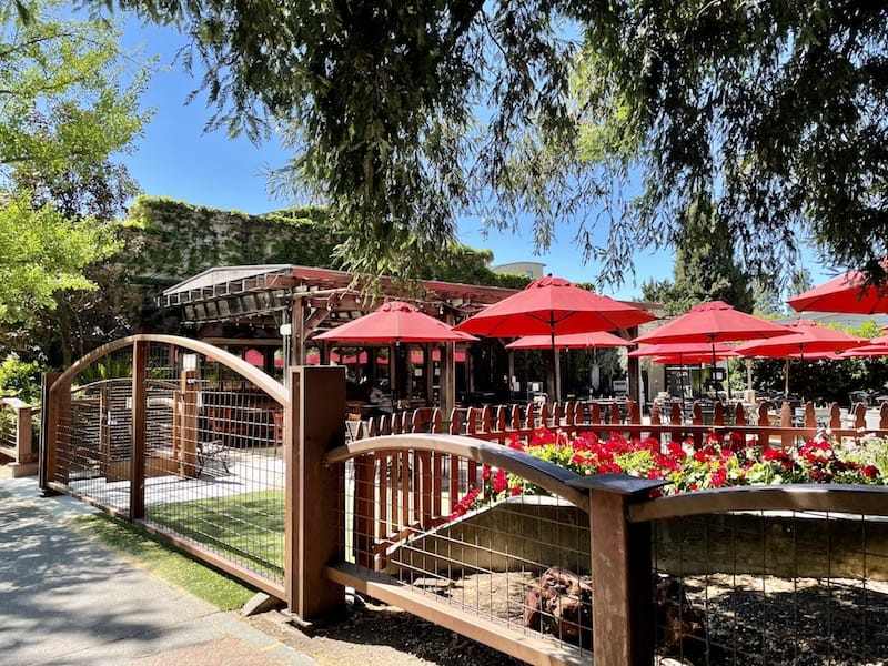 gate for an outdoor seating area with red umbrellas