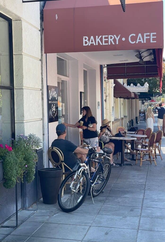 the basque cafe in sonoma california on the square with chairs and outdoor seating